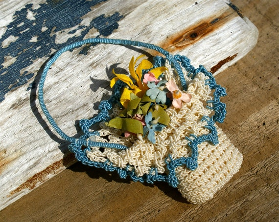 Vintage Crocheted Flower Basket