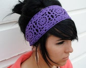 Crochet Lace look Spring/Summer Boppy headwrap -- Purple