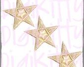 Gold Dresden Double Star in Star Bumpy German Scrap Diecut Foil Trim set of 12