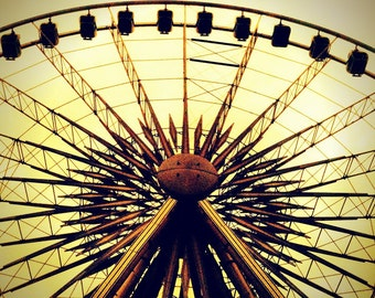 Vintage Styled Ferris Wheel - Square Format Fine Art Photograph - Museum Quality Artwork, Home or Office Decor in Various Sizes and Finishes