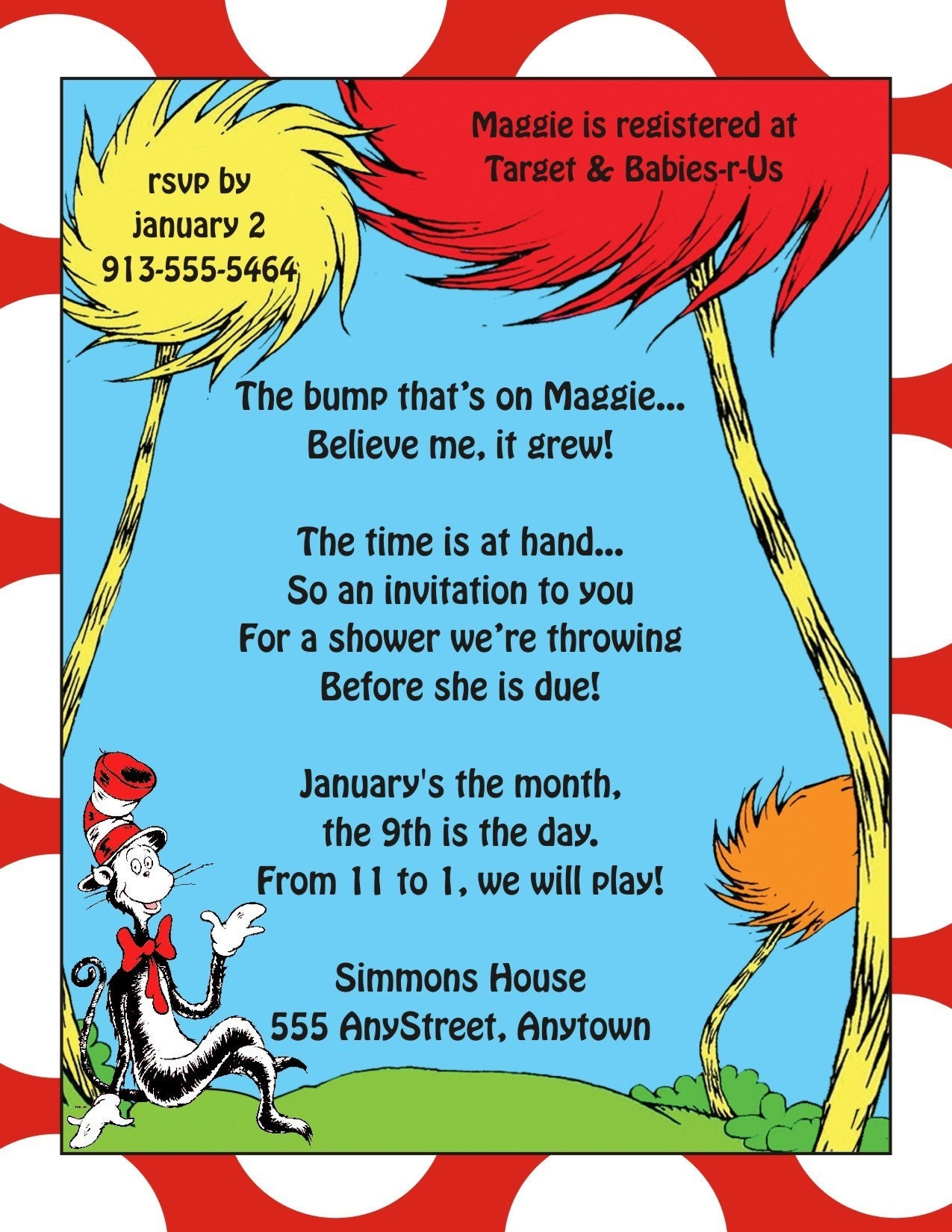Dr seuss baby shower or birthday party invitation