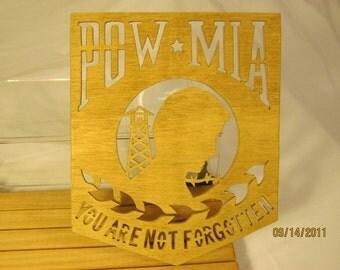 US POW MIA Scroll Saw Plaque