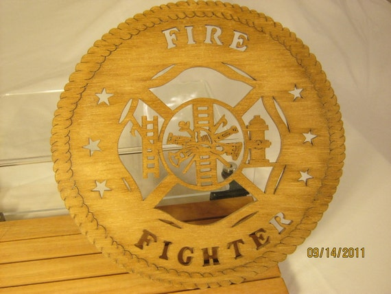 FIRE FIGHTER Scroll Saw PLAQUE