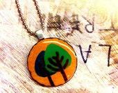 Woodburned Tree Pendant