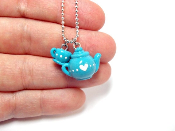 Tea Time: Baby Blue Teapot & Teacup Necklace