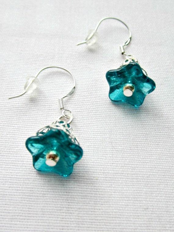 Blue Flower Earrings, Beaded Earrings, Dangle Earrings, Blue Bell Earrings, Silver Earrings