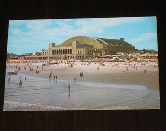 Used Picture Postcard Convention Hall Atlantic City New Jersey Boardwalk Overlooking Ocean 1954