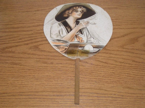 Vintage Hand Fan Westminster Candy Kitchen Maryland Women