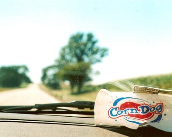 travel photography, ROAD TRIP, country road, americana, corndog, photo, red, white and blue, driving, car, 5x7 Matted 35mm Film Print