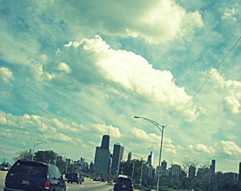 """Chicago Skyline photo, """"Lake Shore Drive"""", travel photography, Chicago Art, blue sky, white clouds, driving, 8x12 - LAKE SHORE DRIVE"""