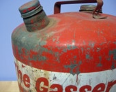 Vintage, large 5 gallon Red Eagle Gas Can. Industrial Galvanized Metal