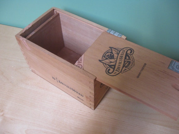 Supplies. Wooden Cigar Box. Sliding lid. Storage box. Craft or project.