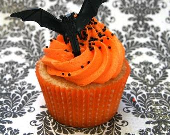 Bat Cupcake Toppers (12) Black Bat Cupcake Picks, Halloween Cupcake Picks