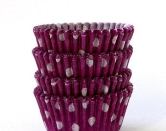 MINI Purple Polka Dot Cupcake Liners (100)