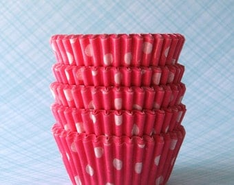 MINI Pink Polka Dot Cupcake Liners, Pink Polka Dot Baking Cups, Valentine's Day Cupcake Liners (60)