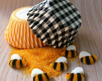 Bumble Bee Cupcake Kit - Cupcake Liners, Sprinkles and Toppers - for 24 Cupcakes