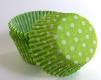 Lime Green Polka Dot Cupcake Liners, Baby Shower Liners, Lime Green Paper Cupcake Liners (50)