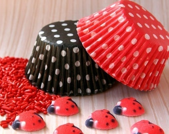 Ladybug Cupcake Kit - Cupcake Liners, Sprinkles and Toppers - for 24 Cupcakes