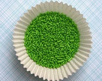Lime Green Jimmies Sprinkles for Decorating Cupcakes and Cookies (4 ounces)