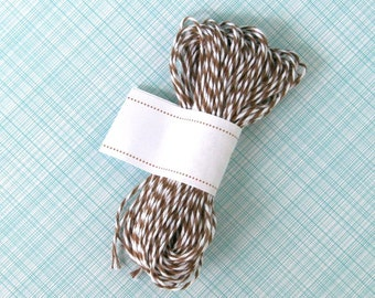 Cappuccino Brown Baker's Twine (15 yards) - Brown and White Bakers Twine