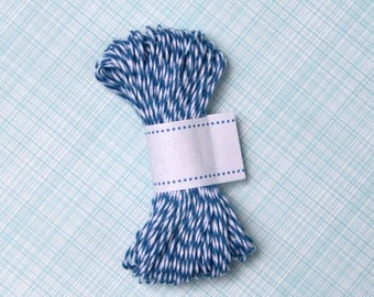 Denim Blue Bakers Twine - Blue and White Striped Twine (15 yards)