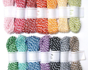 Bakers Twine - 14 Colors of Striped Twine from The Twinery (210 yards total)