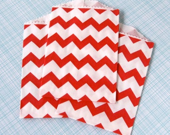 SALE: Little Red Chevron Paper Bags (20) Red Chevron Bags, Red Goody Bags
