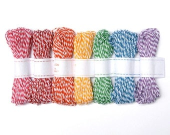 Bakers Twine - Rainbow Mix of Striped Twine from The Twinery (105 yards total)