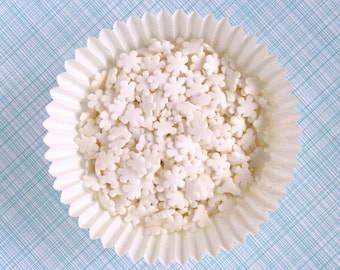 Snowflake Sprinkles, Christmas Sprinkles, Frozen Party Sprinkles, Winter Snowflake Sprinkles, White Snowflake Confetti Sprinkles (3 oz)
