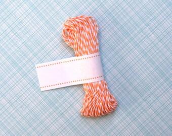 Cantaloupe Orange Bakers Twine - Orange and White Striped Twine (15 yards)