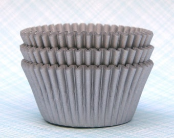 Matte Silver Cupcake Liners (100 count) Wedding Cupcake Liners, Anniversary Cupcake Liners