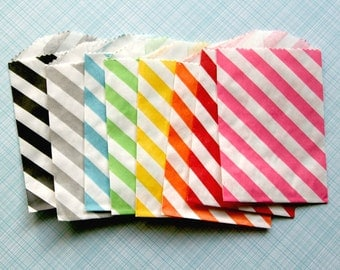 Little Diagonal Stripe Goody Bags - Rainbow Mix of 8 Colors (40) - Red, Yellow, Orange, Green, Blue, Gray, Black, Pink
