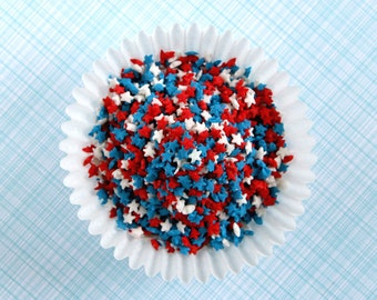 Mini Star Confetti Sprinkles, 4th of July Sprinkles, Star Sprinkles (3 oz) Red, White and Blue Star Sprinkles