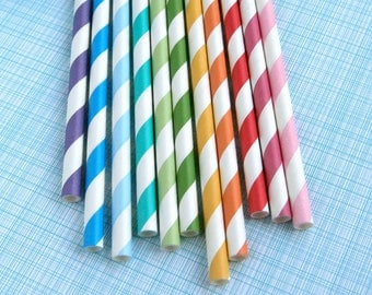 Rainbow Mix Striped Paper Straws with DIY Flags (22)