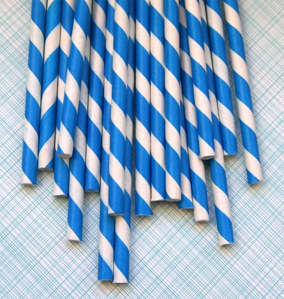 25 Blue Striped Paper Straws with PDF PrintableFlags - Baby Shower, Birthday, Wedding Party