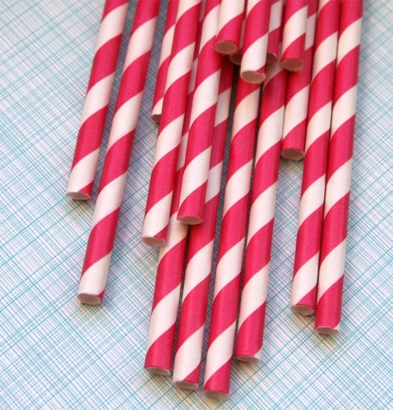 Hot Pink Striped Paper Straws with DIY Flags (50)
