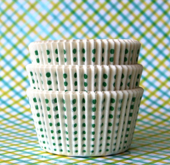White with Green Little Dot Cupcake Liners (45)
