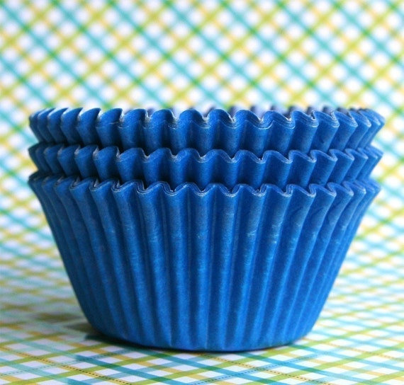 Blue Cupcake Liners, Blue Baking Cups, Birthday Party Cupcake Liners (50)