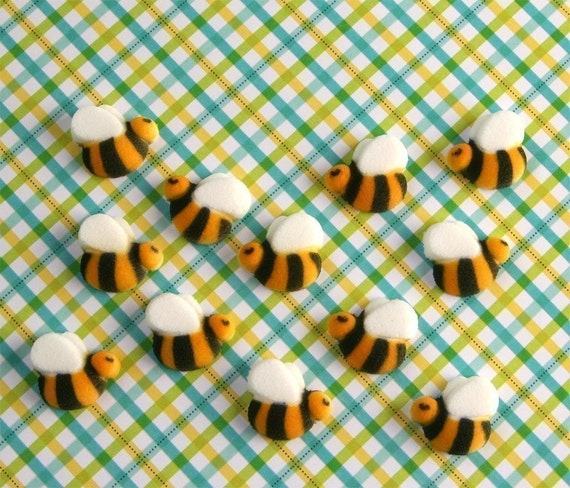 Bumble Bee Edible Sugar Decorations for Cupcake and Cake Decorating (48)