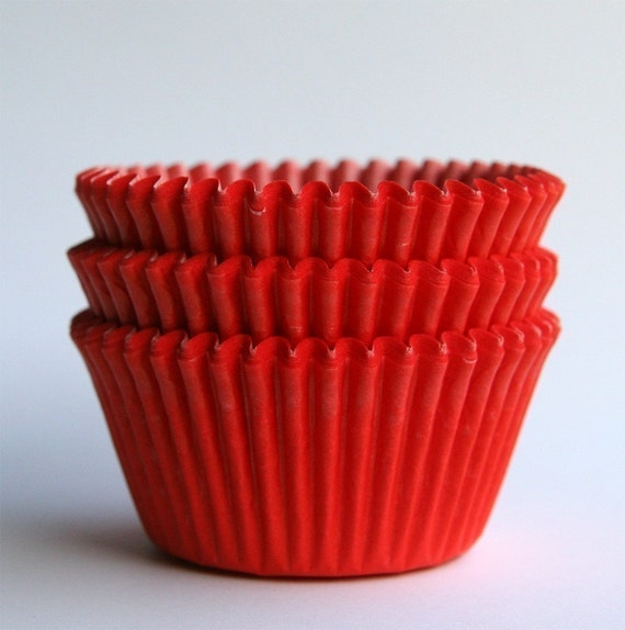 Red Cupcake Liners (50) Christmas Cupcake Liners