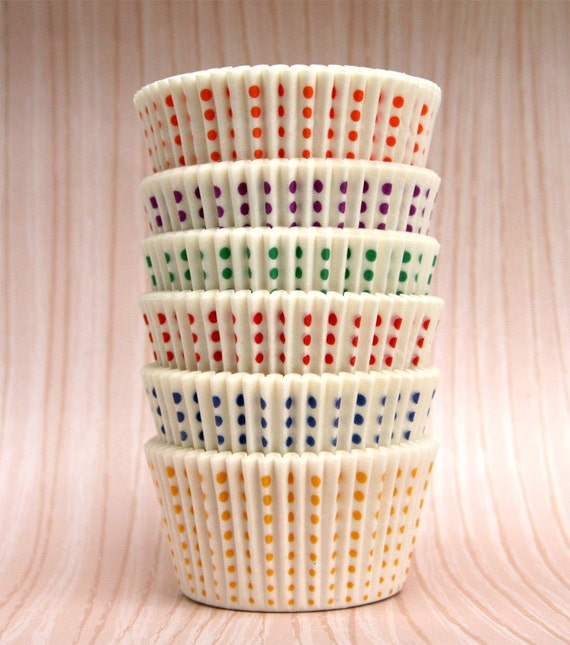 White Cupcake Liners with Rainbow Little Dots (60)