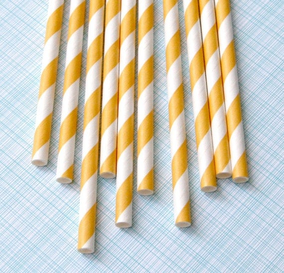 Yellow Striped Paper Straws with DIY Flags (50)