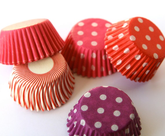 Valentine's Day Mix MINI Cupcake Liners Baking Cups - Red, Pink and Purple (100)