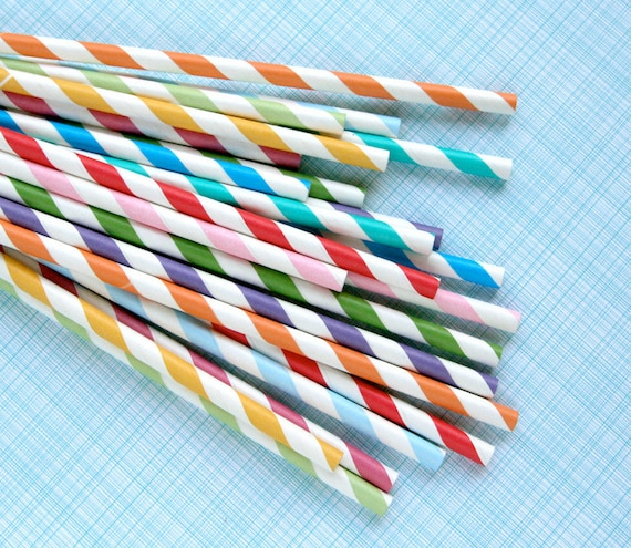 Rainbow Mix Striped Paper Straws with DIY Flags (100)