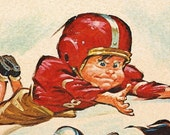 MARKDOWN SALE - WAS 13.99. Vintage Pete Hawley Football Lithograph Print, Great Gift for your Football Loving Pal