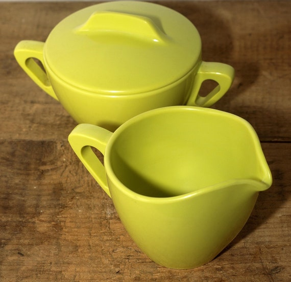 Vintage Lime Green Sugar and Creamer Set, Prolon Ware, Melmac