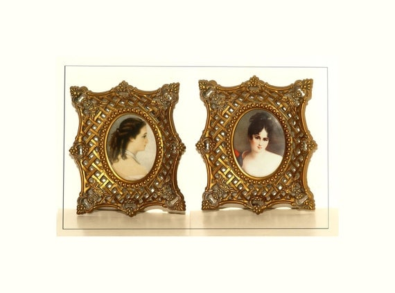Set of Two, Oval Miniature Portraits, Cameos, Victorian Inspired, Resin Type Material Frames, Ornate and Lovely, Cameo Creation