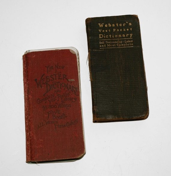 Set of Two, Webster's Pocket Dictionaries, Nice Items for your Library or Vintage Book Collection - SHIPPING INCLUDED within continental US