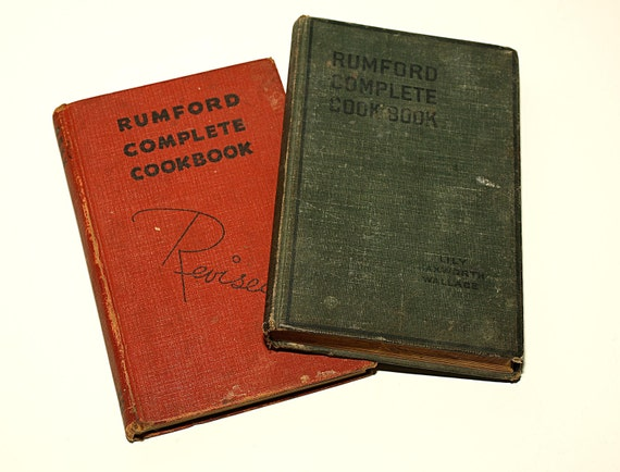 SHIPPING INCLUDED - Pair of Vintage Cookbooks, Rumford Cookbooks,1940 and 1926 Versions, Great Gift for a Cook or Cookbook Collector