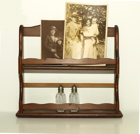 Vintage, Two Shelf Spice Rack, Great for Displaying Small Collectibles and Family Photos